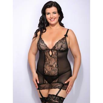 Lovehoney Plus Size Love Me Lace Chemise Set