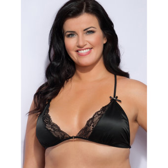 Lovehoney Plus Size Spoil Me schwarzer seidiger Triangel-BH