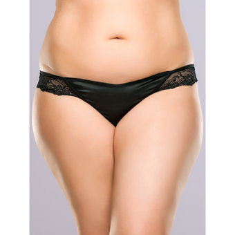 Lovehoney Plus Size Spoil Me Satin Cage Brief Black