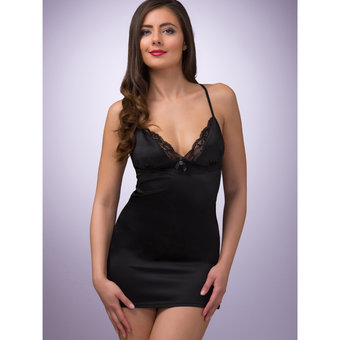 Lovehoney Spoil Me Satin Babydoll Set Black