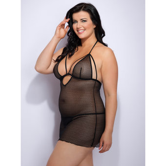 Lovehoney Plus Size Covet Me Mesh Strappy Babydoll Set Black