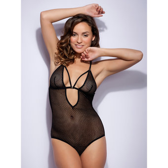 Lovehoney Covet Me Mesh Strappy Crotchless Body Black