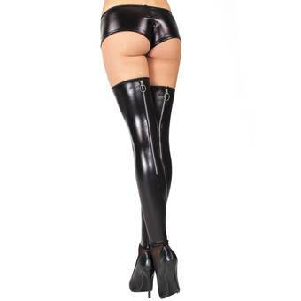 Coquette Darque Wet Look Stockings with Back Zip