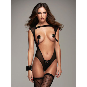 Hauty Black Sheer Open Front Teddy with Thong Back