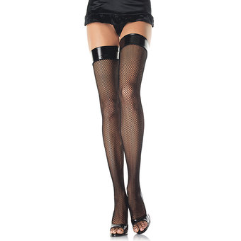 Leg Avenue Fishnet Thigh Highs with Vinyl Tops