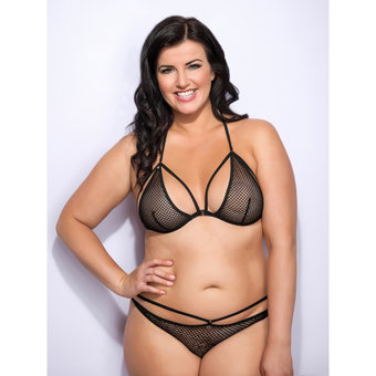 Lovehoney Plus Size Covet Me Mesh Strappy Triangle Bra Black