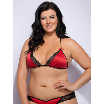 Lovehoney Plus Size Spoil Me Satin Triangle Bra Red
