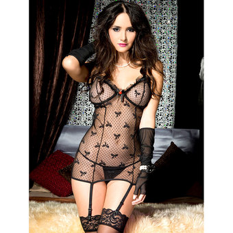Music Legs See Through Chemise and G-String Set
