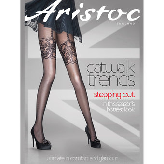 Aristoc Catwalk Trends Black Mock Suspender Fishnet Pantyhose