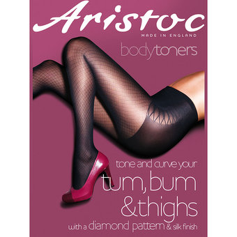 Aristoc Bodytoners Black Diamond Pattern Fashion Pantyhose