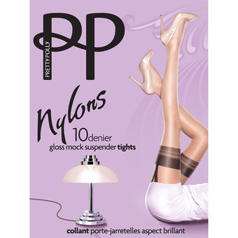 Pretty Polly Nylons 10 Denier Glossy Nude/Black Mock Suspender Pantyhose