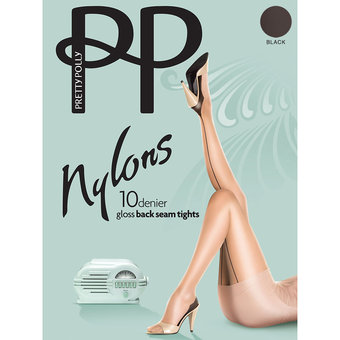 Pretty Polly Nylons 10 Denier Glossy Black Back Seam Pantyhose