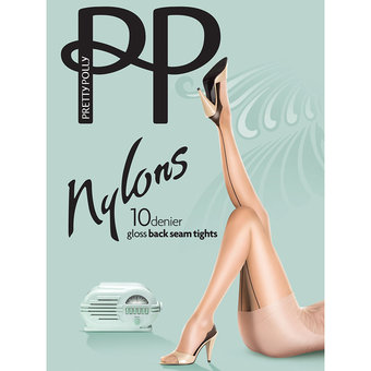 Pretty Polly Nylons 10 Denier Sherry Glossy Back Seam Pantyhose