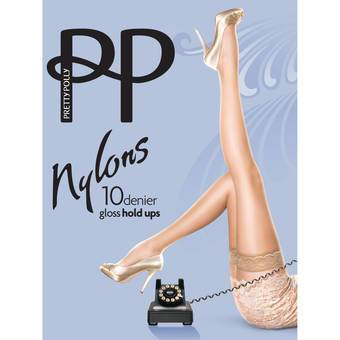 Pretty Polly Nylons 10 Denier Sherry Glossy Lace Top Hold Ups