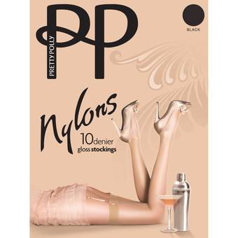 Pretty Polly Nylons 10 Denier Black Glossy Stockings
