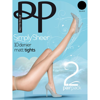 Pretty Polly Simply Sheer 10 Denier Black Matt Pantyhose (2 Pack)