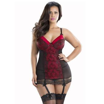 Oh La La Cheri Curves Plus Size Chemise and G-String with Lace Up Back