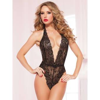 Seven til Midnight Kiss of Envy Sheer Lace Teddy Black