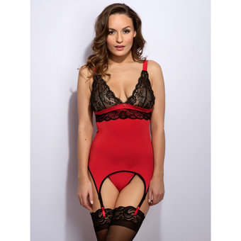 Lovehoney Adore Me Lace & Microfiber Bustier Set
