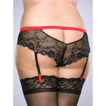 Lovehoney Plus Size Adore Me Lace & Microfibre Suspender Brief