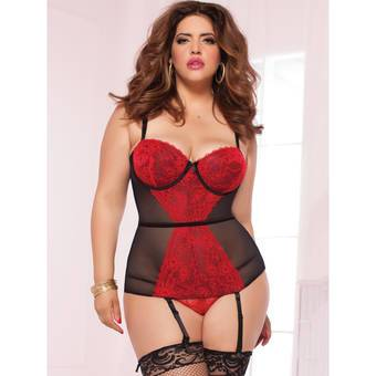 Seven til Midnight Plus Size Sweet Sins Sheer Mesh and Lace Bustier Set