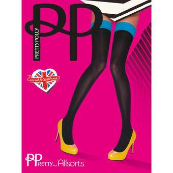 Pretty Polly Coloured Top Opaque Hold Up Stockings