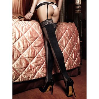 Baci Lingerie Opaque and Sheer Lace Top Stockings