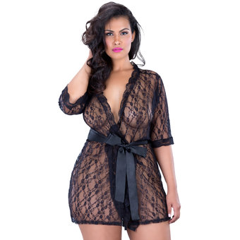Oh La La Cheri Curves Plus Size Lace Robe with Belt Black