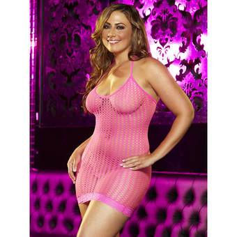 Lapdance Plus Size Halter Neck Crochet Mini Dress