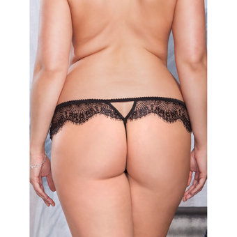 iCollection Plus Size Eyelash Lace Thong