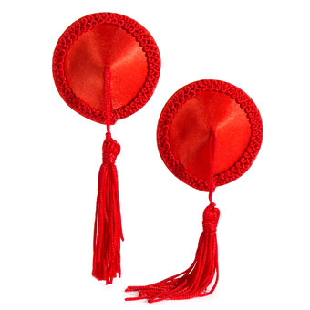 Lovehoney Round Satin Nipple Tassels Red