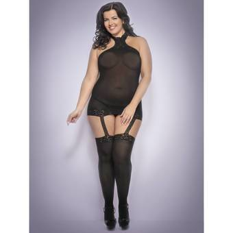 Lovehoney Plus Size All-In-One Sheer Dress and Stockings Set