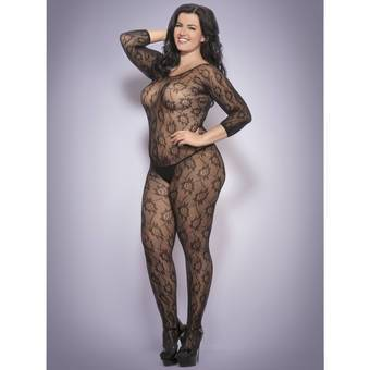 Lovehoney Plus Size Bodystocking ouvert aus Blumenspitze