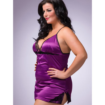 Lovehoney Plus Size Spoil Me Satin Babydoll Set Plum
