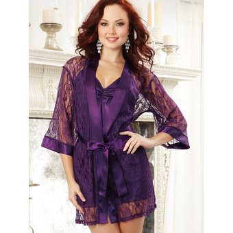 Dreamgirl Satin and Lace Chemise and Robe Set