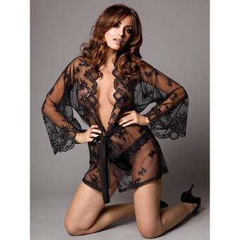 Kiss Me Sheer Lace Kimono and Thong Set