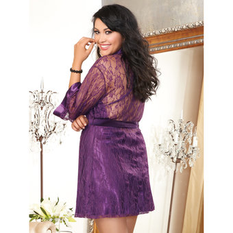 Dreamgirl Plus Size Satin And Lace Chemise and Robe Set