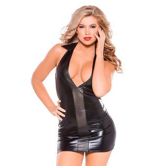 Kitten by Allure Fetishwear Wet Look Halterneck Dress