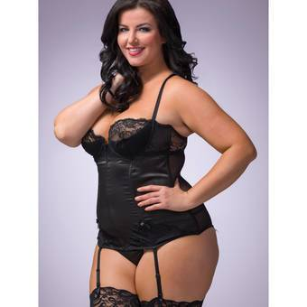 Lovehoney Plus Size Spoil Me Satin Underwired Basque and G-String Black