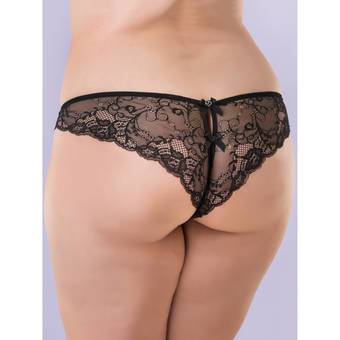 Lovehoney Plus Size Spoil Me Satin Crotchless Brazilian Knickers Black
