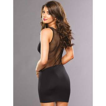 Leg Avenue Laura Fishnet Back Little Black Dress