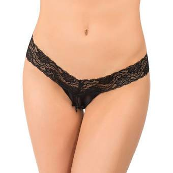 Coquette Darque Wet Look and Lace Crotchless Thong