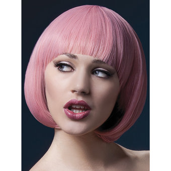 Fever Mia Short Pink Bob Wig with Fringe