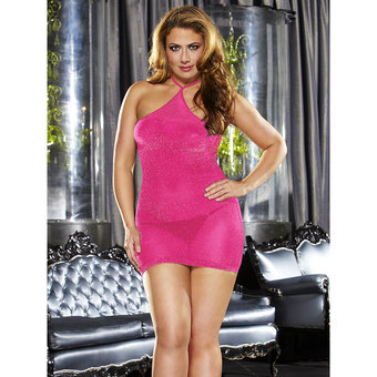 Lapdance Plus Size Hot Pink VIP Glitzer Minikleid