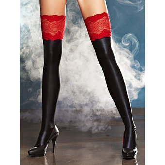 7Heaven Wet Look Hold Up Stockings With Red Lace Top