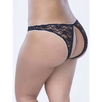 Oh La La Cheri Plus Size Open Back Crotchless Lace Knickers