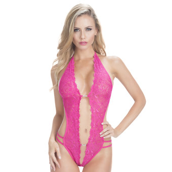 Oh La La Cheri Pink Crotchless Lace Teddy with Diamantés