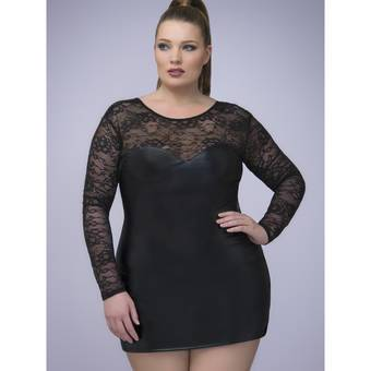 Lovehoney Plus Size Captivate Me Wet Look & Lace Long Sleeve Dress