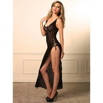 Leg Avenue High Slit Long Lace Gown with Ribbon Ties