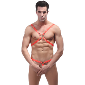 Male Power Shoulder Harness with C-Ring Waist Band Orange